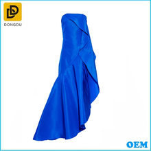 Lateast silk party evening tube dress fashionable backless chiffon navy blue dress short prom dresses`