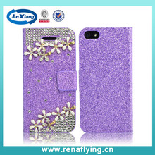 bright diamond flip leather mobile phone case cover for the iphone 6