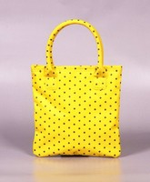 Custom recycled yellow PP shopping bag with logo