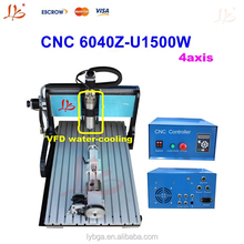 1500W 4 axis cnc milling machine 6040 Z-U, 4 axis cnc engraver with usb port for large area