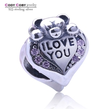 925 Sterling Silver jewelry Custom Made Metal logo Charms Alphabet I LOVE YOU Letter Mouse Hold heart Beads Charm with Pink CZ