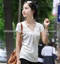 2012 new fashion slim fit 100% cotton white v neck t shirt for ladies plain bulk blank short sleeve