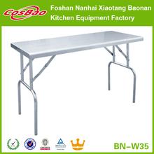 Premium Stainless Steel Folding Kitchen Table, Banquet Service Equipment 150x60x80cm