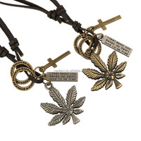 Eco-Friendly coconut palm pendant fashion necklace jewelry adjustable braid leather cord necklace