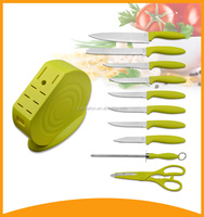 LFGB non-stick kitchen chef knife sets with colorful PP handle