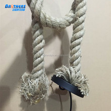 hot sale 2015 China manufacturer pendant lamps hemp rope bulbs bar furniture with rose ceiling for home cofe and bar decoration