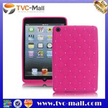 For iPad Mini Custom Case Rhombus Gel Skin Silicone Cover with Bling Rhinestone Studded