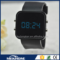 custom jelly blue light silicone touch screen led watch