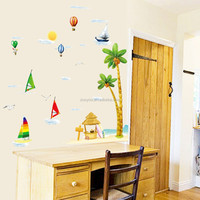 ZooYoo 3d Removable pvc cartoon boat wall sticker sailing boat coconut wall sticker decal for kids room decor (ZYPB1920)