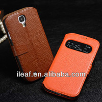 Intelligent Sleep Function Flip Cover Case For Samsung Galaxy S4 i9500 Top Quality Genuine Cow Leather Case With Caller ID