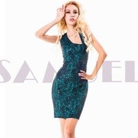xh504 sleeveless shiny green sequined lace ladies casual dresses