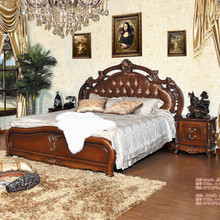 Popular fashionable solid wood bed,leather bed design,rose series bed set
