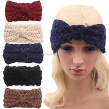 hot sell Women's Fashion Fall Accessory women Knitted crochet Headband Wide Bow Ear Warmer WH-1415