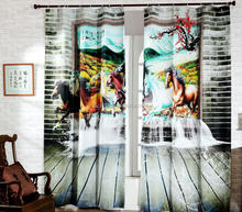 Hottest Chinese style 3D unique Horses printed curtain 100% high density polyester blackout curtain