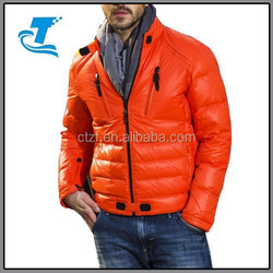 Men Motorcycle Down Jacket With Stand Collar 2015
