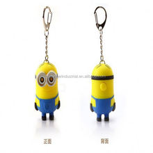 Despicable me minions toys 3D soft PVC keychain With clock