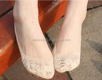 Dancing Anti Slip Lace/Cotton No Show Socks,Invisible Women Lace Boat Socks,Lady Low Cut Socks