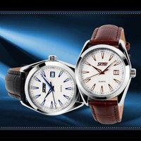 2015 simple design genuine leather watch with stainless steel back