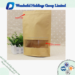 Kraft Paper stand up bag see packaging chia seed paper bag with window