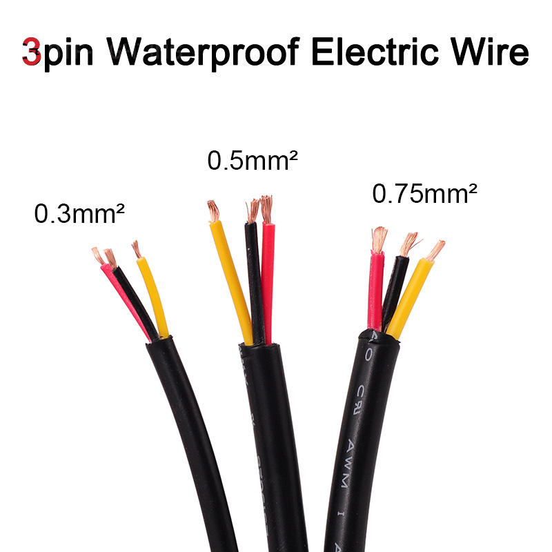 3pin waterproof led electrical cable 0 3 0 5 0 75 mm waterproof ip68 rh alibaba com Waterproof Wire Nuts Waterproof Fabric