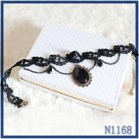 2016European elegant jewellery double layer chain black ribbon rose flower black acrylic stone pendant female vintage necklace