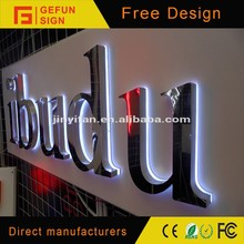 Beautiful crystal backlit stainless steel LED signboard