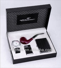 Watch Gift Sets For Wedding Include Watch+Flashlight+Pipe+Lighter+Purse GFAA8028