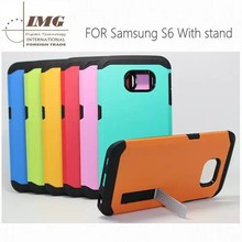 TPU PC Hybrid case with stand for samsung galaxy S6, for samsung galaxy s6 case with 13 colors
