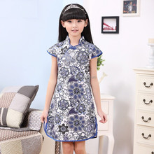 Hot selling Kid's Chinese style skirt kid's clothes imitate porcelain purple and white one piece retro Dress
