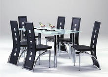 High back dining chair and glass dining table dining room set