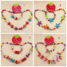 new design baby jewelry children acrylic bead jewelry necklace bracelets cute fruit flower candy bead jewelry for kids