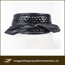 ladies black wide elastic waist belt, high waist belt for dresses, self-tie belt
