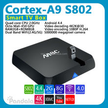 Original M8/M8C TV Box camera 5.0MP Amlogic S802 Quad Core Android 4.4 Kitkat 2GB/8GB XBMC add-ons fully loaded