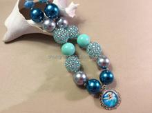 Queen Elsa epoxy charm, Elsa pendant jewelry, chunky kids elsa necklace