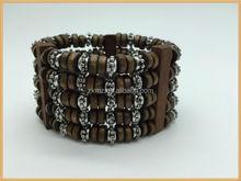 wooden beads handmade silver beads bracelet bangles