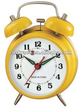 3 inches mechanical bell alarm clock gold color with windup spring movement