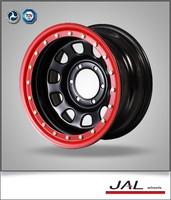 Black red pinstripe 13x4.5 D Modular steel wheel