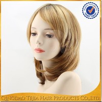 Wholesale Qingdao rooted blonde color synthetic natural hair wigs for black women