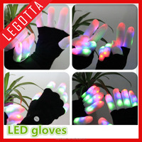 New product 2016 funny design glitter lazer lighting up multicolor led gloves