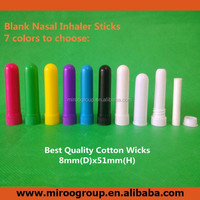 Blank Nasal Inhaler Sticks with high quality cotton wicks for filling essential oils