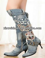 Sexy knee high women denim boots