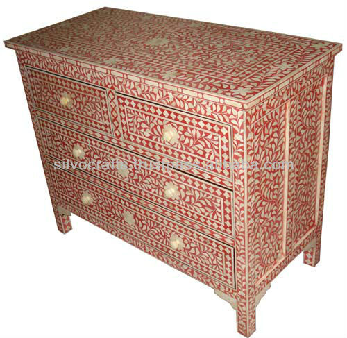 Indian Moroccan Style Camel Bone Inlay Chest Of Drawer Cabinet Furniture Bone Mother Of