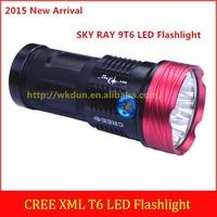 2015 New Arrival SKY RAY King 9T6 XM-L T6 10000 Lumens Super Brightness 3 Modes LED Flashlight (by 4 pcs 18650 Batteries)