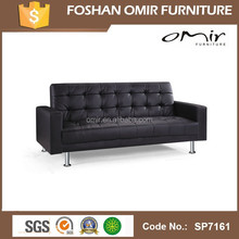 Popular leather brown sofa bed with arms