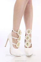 JUSITY 2015 white bridal wedding shoes with flowers in China