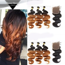 Sunny Queen 5A Grade 100% unprocessed Brazilian Virgin Hair Lace Closure with Ombre Hair bundles with closure body wave