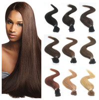 """Wholesale 18"""" 20"""" 22' 50g 100S Silky Beauty Straight Pre Bonded I Tip Hair Extensions Keratin 0.5g/s Mutli-color Remy Tip Hair"""