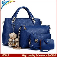 Top selling 2015 fashion women handbag 4 pcs sets with bears gift Lady tote bags with outside pockets