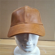 New Arrival Brown Genuine Mens Leather Baseball Cap Wholesale with Velcro Closure