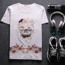 Casual summer influx of male fashion T-shirt Korean skull printed T-shirt bottoming shirt manufacturers, wholesale
